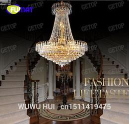 Lampada da soffitto in cristallo dorato chiaro online-FUMAT Royal Empire Golden Crystal Chandelier Lampadario a sospensione a soffitto in cristallo chiaro con lampada a sospensione Spedizione gratuita