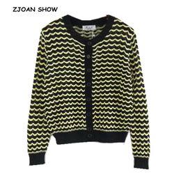 2019 amarillo suéter rayas mujeres Contraste negro con estilo Amarillo onda  horizontal Cardigans rayados 2018 Mujer e5e81c97bac0