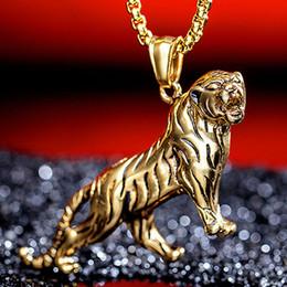 Gold tiger anhänger online-2 Farben Trend Korean Vintage Persönlichkeit Gold / Silber Herrschsüchtig Tiny Tiger Edelstahl Herren Halskette Anhänger Tier Schmuck G874F