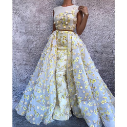 Wholesale Black Fabulous - Fabulous Floral Mermaid Prom Dress With Overskirt Jewel Neck Sleeveless Petals Applique Tulle Evening Gowns Charming Celebrity Party Dresses
