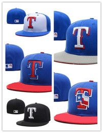 Wholesale field full - Hot New Men's red color Rangers on field fitted hat embroiered T letter team logo fans summer baseball Hat full closed Chapeu brands