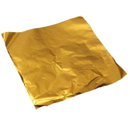 Wholesale Wholesale Candy Paper Wrappers - Wholesale- 100pcs Square Sweets Candy Chocolate Lolly Paper Aluminum Foil Wrappers Gold