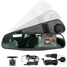 зеленые автомобили Скидка Автомобильная видеорегистратор 4,3-дюймовый ЖК-экран с зеленым экраном HD-видеорегистратор автомобильный видеорегистратор Автомобиль зеркало заднего вида DVR Авто двойной объектив передней камеры заднего вида