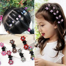 Wholesale Hair Clips Clamp - 12 Pcs Lot New Baby Kid Child Crystal Flower Mini Barrettes Hair Claw Clamp Girls Hair Clip Pin Accessories