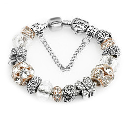 Wholesale Crystal Butterfly Bangle Bracelet - Pandora Crystal Ball Butterfly White Crystal Glass Beads Fashion Elegant Charm Bracelets Bangles For Women Free Shipping D631S