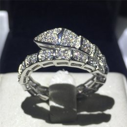 Wholesale crystal snake rings - Brand Snake Style wedding band ring for women pave set 5A zircon crystal bijoux White Gold Filled Engagement Bridal rings