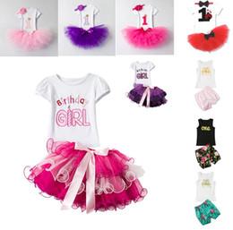 Wholesale Mini Skirt Top Set - summer Girls Outfits Europe Style Birthday Skirts Children Clothing Sets Short Sleeve Tops + Tutu Mini Skirt Floral Shorts 2pcs Suits C2731