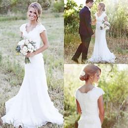 Wholesale Modest Bridal Dresses - 2017 Elegant Country Lace Wedding Dresses Mermaid V Neck Cap Sleeve Modest Wedding Bridal Gowns Boho Beach Covered Button Cheap