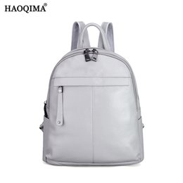 Wholesale Cow School Bags - HAOQIMA New Famous Brand Designer Girl 100% Genuine Cow Leather Real Cowhide Backpack Women Fashion Soft Cowhide School ipad Bag