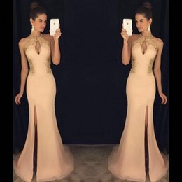 Wholesale High Neck Halter Formal Gowns - 2018 Sexy Keyhole Neck Long Prom Dresses Mermaid African Princess Side Split Sleeveless Formal Evening Wear Gowns with Lace Evening Dresses