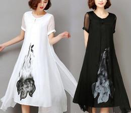 Wholesale Dresses Work Design - beautiful !! High Quality 2018 New Spring Summer Women Work Wear Ink Print Retro Cotton Linen Designs Casual Dresses Slim White