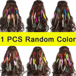 Wholesale peacock feather hair bands - M MISM 5PC Hot Sale Feather Headband Women Headdress Bohemian Style Peacock Feather Beaded Handmade Hair Bands Hair Accessories