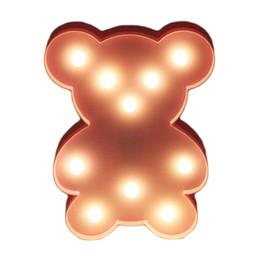 Wholesale Bear Led Night Lamp - LED Battery Nightlight 3D Animal Night Lights Bear Desk Night Lamp For Baby Kids Bedroom Decoration