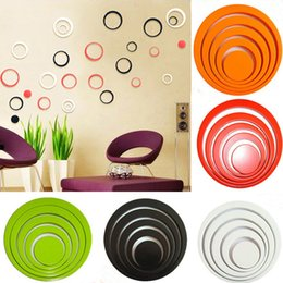 Wholesale Wall Decals Circles - New Fashion One Set Home Decoration Circles 3D Removable Art TV Wall Stickers Multi-Colors Choice Room Decoration Decals