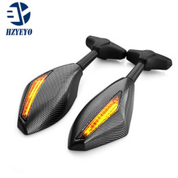 Wholesale carbon cbr - HZYEYO 1 Pair Motorcycle LED Turn Signals Arror Integrated Rearview Mirrors for Houda CBR 600 F4i 929 954 RR Carbon Fiber color