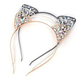 Bandas para la cabeza de disfraces de animales online-Niñas Glitter Hair Hoop Crystal Metal Rhinestone Gato Oreja Diadema Hairband Costume girl Party Hair Band Accesorios