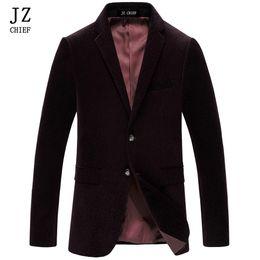 Wholesale Coat Dress Red Wool - JZ CHIEF Men Slim Fit Blazer Irregular Striped Blazer Male Jacket Dress Suit Men Velvet Jackrt Coat Navy Suit Jacket Wool Coat