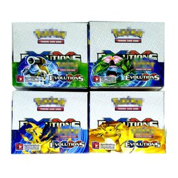 Wholesale baseball games toys - Trading Cards Games Sun&Moon Evolution Version 4 Styles Anime Pocket Monsters Cards Toys Super Heros 324pcs lot=32bags=1box Playing Cards