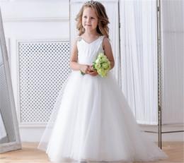 Deutschland Elfenbein Blumenmädchen Kleid Prinzessin Kleid für elegante Mädchen, Parties Mesh Bogen Open Back Straps mit Perlen Sweep Zug verziert zu besuchen Versorgung