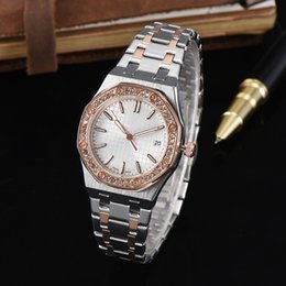 Wholesale Offshore Rose Gold - Fashion Women Diamond Watch Luxury Brand Rose Gold Silver Stainless Steel Oaks offshore Wristwatches Female Clock 5 Colors Daydate