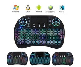 Wholesale Smart Tv Keyboards - Rii I8 Smart Fly Air Mouse Remote colorfull Backlight 2.4GHz Wireless Bluetooth Keyboard Remote Control Touchpad For TV Android Box