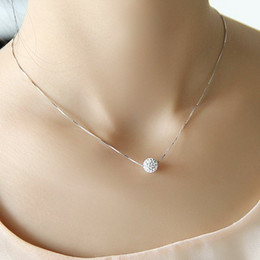 S925 saf gümüş kolye kadın kısa tasarım kristal Shambhala top zincir zarif kısa anti-alerjik nereden