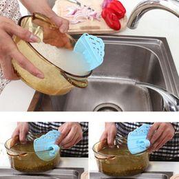 Wholesale Plastic Wash Sink - Wholesale- Can Clip Cleaning Rice Washing Sieve Drainer Sink Strainer Debris Filter Kitchen Sieve Gadget Rice Wash Beans Colander Drain