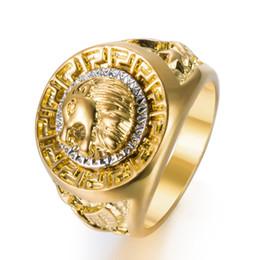 2019 кольцо из желтого золота 14к Золотые цвета классический мужской стиль панк хип-хоп кольцо прохладный Лев руководитель группы Золотое кольцо ювелирные изделия