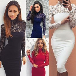 Wholesale Sleeved Knee Length Dresses - 2018 New Arrivals Ladies Long-Sleeved Lace Sexy Slim Dress Sexy Party Dresses Women Elegant Evening Party Dress Free Shipping