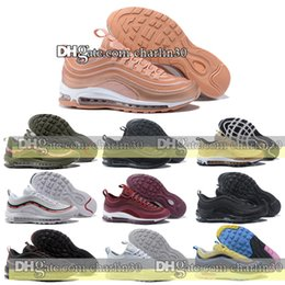 Wholesale Navy Surface - 2018 top quailty Sneakers Shoes classic 97 men Running Shoes Black Red White Sports Trainer Air Cushion Surface Breathable Sports Shoes