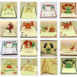 Tarjetas de amante online-Campana de Navidad creativa Cortar con láser 3D pop-up papel tarjetas postales hechas a mano tarjetas de felicitación personalizadas regalos para la fiesta del amante Regalo de Navidad para niños Amigos