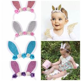 Wholesale Rabbit Stick - Baby Girls Easter Ears Headband Flowers Fashion Rabbit Ear Baby Hairbow Flower Elastic Hair Bands Girls Bunny Nylon Headbands KKA4191