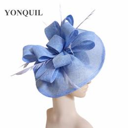 Wholesale formal elegant dresses for ladies - Feather Fascinators race Hats For Women Elegant light blue imitation fascinator Hat Girls Ladies Formal Wedding Dress Hats SYF66