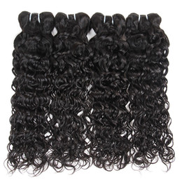 natural weave hairstyles Promo Codes - 10A Brazilian Virgin Hair Water Wave 4 Bundles Unprocessed Natural Wave Human Hair Extensions Peruvian Indian Malaysian Hairstyles