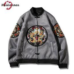 Wholesale Chinese Embroidery Jacket - 2017 New Chinese Dragon Embroidered Jacket Men Single Breasted veste homme jacket men's jaqueta masculina Bomber Jackets Men