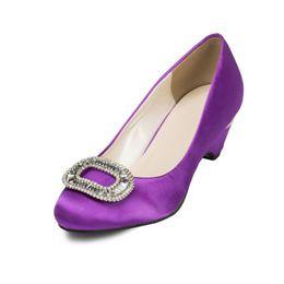 Wholesale custom wedges shoes - Custom Purple Satin Women Pure Handmade Shoes 5cm Heel Sexy Slip On Wedge Party Shoes Handmade Shoes JYG075