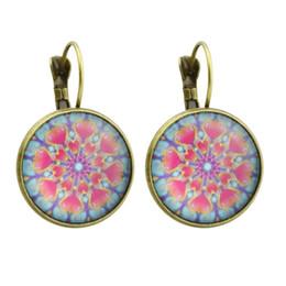 Wholesale flower shaped hoop earrings - Bohemian Style Ethnic Earrings Bronze Silver Color With Pink Heart Round Flower Shape Earrings Hoop For Women