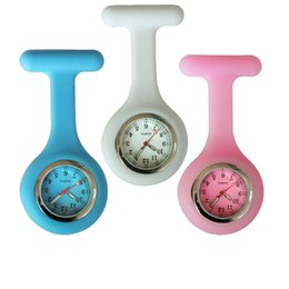 Wholesale Plastic Nurse - NEW fashion full colors design silicone rubber soft pin nurse FOB pocket watch unisex ladies women doctor medical hang watches
