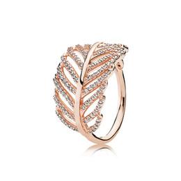 925 prata esterlina anéis de penas com Limpar CZ diamante caber Pandora estilo da jóia por Mulheres Rosa de Ouro 18K cristal anel de casamento de