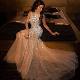 Wholesale Pageant Long Gowns For Women - New Sparkly Beaded Crystal Mermaid Prom Dresses 2018 Plus Size Champagne Tulle Prom Gowns For Women Pageant Gowns evening dresses