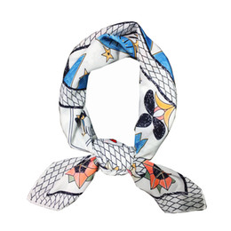 Wholesale White Scarves Square - Neckerchief Scarf Women Luxury Brand Bandana Fashion White Handkerchief Tarot Printed Scarves Square Shawl Wraps 70*70cm NEW