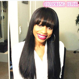 Wholesale Yaki Wigs Bangs - Human hair wig with bangs long light yaki straight bang human hair wig natural color full wig for black girls