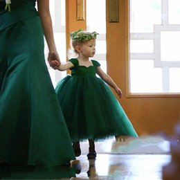 Wholesale Cheap Birthday Shirts - Dark Green Flower Girls Dresses Pleats Tulle Ball Gown Girls Party Dresses Cheap New Arrival Free SHipping