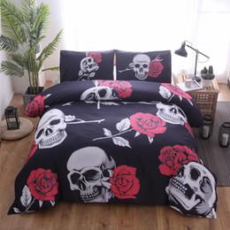 conjuntos de cama florais Desconto Lannidaa 3D Impresso Conjunto De Cama Incluir Rose Skull Duvet Covers Fronha Único Duplas Cama King Size Roupa de Cama Capa de Edredão Set