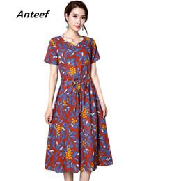 Wholesale linen club clothes - Anteef cotton linen vintage floral print clothes Collect waist v-neck women casual summer dress vestidos femininos 2018 dresses