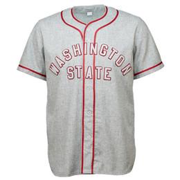 WSU Washington State Cougars University 1948 Road Jersey двойной Stiched Бейсбол Джерси для мужчин женщин молодежи настраиваемый cheap baseball states от Поставщики бейсбольные штаты