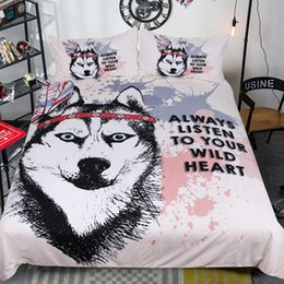 Wholesale Bedding Wolf Comforter - Fashion 3D Bedding Set Mix Color Flat Sheet High Quality Ultra Soft and Easy Care Fade Resistant Pillowcases Text Wolf Skull Pattern King
