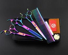 """Conjunto de tesouras de dragão roxo on-line-Com pacote de couro de varejo roxo dragão 3 pcs set 7.0 """"profissional tesoura de cabelo tesoura de corte de cabelo / tesoura de desbaste + pente roxo"""