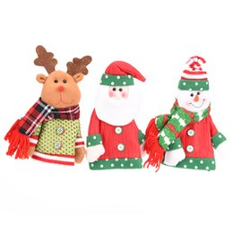 Wholesale doll 19 - Fashion Kawaii Christmas Santa Claus Snowman Doll Wine Bottle Covers Christmas Gifts Home Xmas Party Decoration 19*24cm
