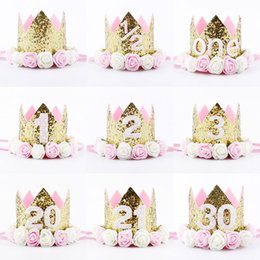 Wholesale happy caps wholesale - Happy First Birthday Party Hats Decor Cap One Birthday Hat Princess Crown 1st 2nd 3rd Year Old Number Baby Kids Hair Accessory adults